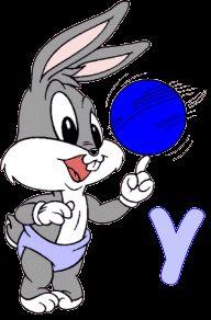 Alfabeto de Bugs Bunny bebé jugando con una pelota. | Oh my Alfabetos!