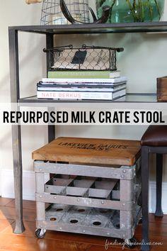 Junkers United – Repurposed Milk Crate Stool - Finding Home Farms Painted Furniture, Diy Furniture, Crate Stools, Milk Crates, Diy Home Decor Projects, Decoration, Home Accessories, Repurposed, Design