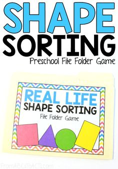 Teach your preschooler or kindergartner to identify and sort the shapes they see in real life with this fun shape sorting file folder game! Learning Shapes for Toddlers Preschool Learning Activities, Sorting Activities, Preschool Printables, Preschool Lessons, Preschool Curriculum, Preschool Math, Indoor Activities, File Folder Activities, File Folder Games
