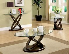 Furniture of America Evalline Dark Walnut Accent Table Set - Overstock™ Shopping - Great Deals on Furniture of America Coffee, Sofa & End Tables Glass Table Set, Modern Glass Coffee Table, 3 Piece Coffee Table Set, Oval Coffee Tables, Walnut Coffee Table, Walnut Table, Oval Table, Coffee Cups, Living Room Lounge