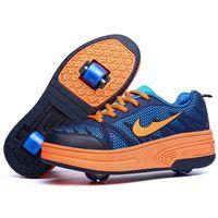 Caliente venta zapatos de los niños con dos ruedas patines patines el deporte Tenis Infantil para niños niño niña niño zapatos de ruedas