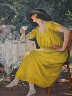 """1923 Painting entitled """"Youth"""" by Jose Maria Veloso Salgado, it is housed in the Portuguese Malhoa museum Aesthetic Theory, Great Gatsby Fashion, Film Inspiration, Blue Garden, Classic Paintings, High Art, Gustav Klimt, Drawing Techniques, Paint Designs"""