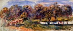 Pierre Auguste Renoir (1841-1919) - Landscape with Orchard - 1910 -  Private Collection