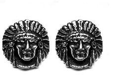 Indian Chief Cufflinks in solid sterling silver Free by oldtrekkie, $75.00