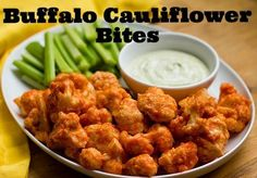 Buffalo cauliflower bites with homemade ranch dressing | Super Bowl recipes