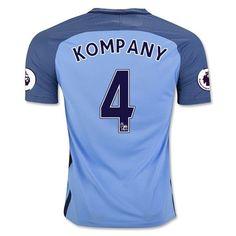 Manchester City 2016/17 Home Men Soccer Jersey KOMPANY #4