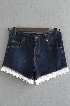 Lace Trim Denim Shorts