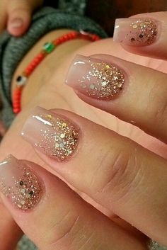 Charm: Over 50 Designs for Perfect Pink Nails See the most charming nail designs in pink that are appropriate for almost any occasion.See the most charming nail designs in pink that are appropriate for almost any occasion. Fancy Nails, Cute Nails, Pretty Nails, Hair And Nails, My Nails, Nagel Hacks, Gold Glitter Nails, Nude Sparkly Nails, Gold Tip Nails