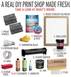 http://diyprintshop.com/ The TableTop Screen Printing kit, is a fresh version of the early tools & methods underground groups, like punk rockers, & avant-garde fashion designers, used to screen print their clothing & merchandise (record covers, flyers, tees, posters).