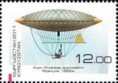 Stamp: Henri Giffard's dirigible (Kyrgyzstan) (Development of Dirigibles) Mi:KG 685A,Yt:KG 565,Sg:KG 494,WAD:KG038.11,Un:KG 693A