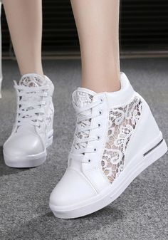 Available Sizes Heel Height :Flat Boot Shaft :Ankle Color :White Toe :Round Shoe Vamp :PU Leather Closure :Lace-up Fashion Flats, Sneakers Fashion, Shoe Vamp, Goth Shoes, Wedge Wedding Shoes, Basket A Talon, Kawaii Shoes, Denim Shoes, Womens Shoes Wedges