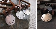 Boys Stamped Wooden Beads and Suede Necklace