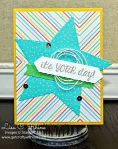 by Lisa: Fabulous Four, Cherry on Top dsp stack, Stars framelits, & more. All supplies from Stampin' Up!