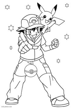 Ash And Pikachu Coloring Pages Pica