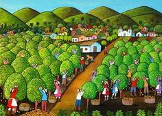 Orange Picking in Colorful Brazil by Wilma Ramos, size: 50cmX70cm. Painting matierial: Acrylic on canvas