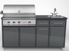 """Dimensions: 66¼""""(w) x 36""""(h) x 24""""(d) Standard silver vein/charcoal grey options, all others available in 3-4 weeks Aluminum top standard or granite finishes American-made and powder-coated with lifetime warranty Includes 32"""" Delta Heat Grill, trash center, and sink Optional casters and on-demand water system"""