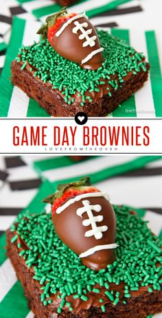Easy Game Day Football Brownies With Chocolate Dipped Strawberries That Look Like Footballs! Great dessert idea for watching the Super Bowl. Football Brownies, Superbowl Desserts, Football Treats, Football Party Foods, Football Food, Football Parties, Tailgate Parties, Tailgate Desserts, College Football