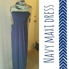 """Light Navy Blue Maxi Dress Beautiful dark serenity blue color! - 44"""" long - strapless cinch bandeau top - 60% poly 35% rayon 5% spandex - available in SMALL MEDIUM OR LARGE  Brand: BOGO Style USA BOGO Style USA Dresses Maxi"""