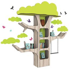 Display your books in style by placing them inside the cubby holes of our large Hollow Tree Book Displayer, which will create an eye-catching focal point in your library. x x (including decorative vinyl foliage, birds and butterflies) Kids Cubbies, Forest Book, Sunday School Games, Cnc Plans, Cubby Hole, Book Tree, Shape Books, Tree Shapes, Nature Tree