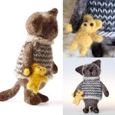 Handmade Felted Mr Cat with a little yellow Teddy Bear, 14 cm height, 100% lamb wool. Decoration - knitted stripy jumper - 100% wool, Teddy bear - needle felted , lamb wool. Adorable thing ))) #felt #felting #lovely #cat #handmade #lambwool #wool #gift #toys #needlefelting #adorable
