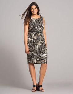 Print jersey plus size dress by Sallie Sahne. Shop now: http://www.navabi.us/dresses-sallie-sahne-print-jersey-dress-black-beige-19863-2401.html?utm_source=pinterest&utm_medium=social-media&utm_campaign=pin-it