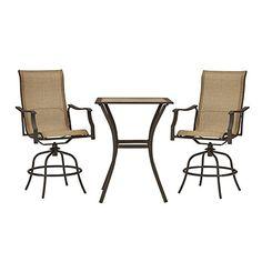 Outdoor Garden Treasures Brown 3 Piece Sling Seat Steel Arm Chair Patio Balcony Height Set