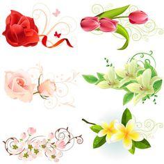 Vectores de rosas y tulipanes gratis | Recursos Photoshop