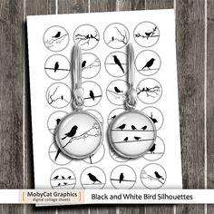 Cercle de Silhouettes d'oiseaux images feuilles Collage numérique idéal pour la fabrication de résine pendentifs, pendentifs de verre, capsules de bouteilles, aimants, pendentifs. Images de cercle ■ en 10mm, 12mm, 14mm, 16mm et 20mm, chaque taille sur un autre collage de la feuille. ■ Collage feuille de format 8,5 x 11» - format A4 haute résolution 300 dpi JPG ◆ Même design en 25mm, 30mm, 1 et 1,5 www.etsy.com/listing/212692016/birds-silhouettes-25mm-30mm-1-inch-15? Ces fe...