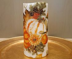 Thanksgiving LED Pillar Candle With Pumpkins, Gourds, Fall Leaves, Apples And More by DontForgetTheFlowers on Etsy Wrapping Paper Bows, Gift Wrapping, Flameless Candles, Pillar Candles, Gourds, Pumpkins, Thanksgiving Centerpieces, Beautiful Candles, 5 Hours