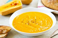 Buy Butternut squash soup by vanillaechoes on PhotoDune. Butternut squash soup by some toasts Apple Recipes, Fall Recipes, Soup Recipes, Vegan Recipes, Cooking Recipes, Netmums Recipes, Butternut Squash Soup Crockpot, Roasted Butternut Squash, Stuffed Pepper Soup