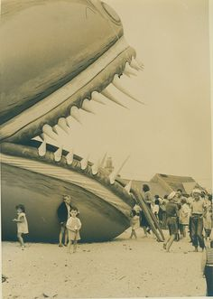Children and the sea serpent. The Sea Serpent was visited by all of Nantucket in the summer of 1937.