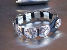 Southwestern ANNIE COWBOY Concho Bracelet Signed Sterling Silver Leather Estate #AnnieCowboy
