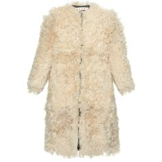 Marni Round-neck shearling coat ($2,840) ❤ liked on Polyvore featuring outerwear, coats, jackets, fur, beige, brown coat, zip coat, fuzzy coat, collarless coat and shearling coat