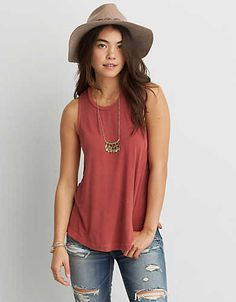 AEO Soft & Sexy Drapey Tank , Red   American Eagle Outfitters