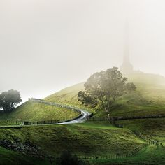 Beautiful misty view of One Tree Hill in Auckland, New Zealand.