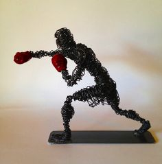 """Wire Sculpture Boxer study """"Clout"""" Frank Marino Baker"""