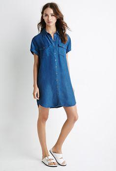 Denim Utility Shirt Dress | Forever 21 - 2000077443