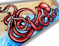 Red to Impress - Red Octopus Skateboard Painting