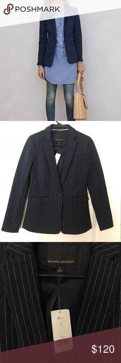 NWT Banana Republic striped jacket New with tags! Beautiful dark navy striped jacket, size 0 Banana Republic Jackets & Coats Blazers