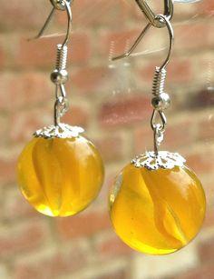 VINTAGEnKITSCH  - Vintage & Kitsch - on Etsy new summer colours yellow red orange peach pastel vintage marble drop earrings handmade