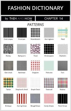 types of patterns - fashion dictionary Types Of Patterns, Fabric Patterns, Clothing Patterns, Fashion Terminology, Fashion Terms, Sewing Basics, Sewing Hacks, Sewing Ideas, Fashion Fabric