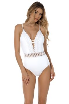 b2fe98cb6 Becca by Rebecca Virtue Women's Siren One Piece Plunge Swimsuit White L