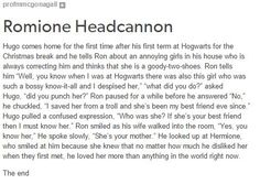 Image result for ron and hermione headcanons tumblr