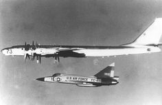 """A Convair F-102A intercepting a Soviet """"Bear"""" long-range bomber off the coast of Iceland in July 1970."""