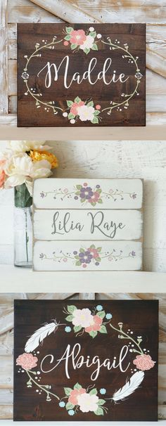 BEAUTIFUL PERSONALIZED HANDMADE NAME SIGNS! Perfect wall art for a nursery or kids room, love it! #affiliatelink #custom #handmade #nursery #kids
