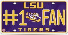 LSU Tigers number 1 Fan  SEC Football License Plate Tag #SouthernHeritage #LSUTigers