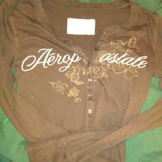 Brown long sleeve tee Long sleeved tee with flowers and says Aeropostale Aeropostale Tops Tees - Long Sleeve