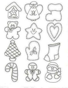 Holiday patterns - angel, Christmas stockings, candycane, Christmas tree, gingerbreadman, snowman, birdhouse, mitten, bear, star, heart...