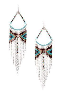 Beaded Triangle Fringe Drop Earrings by VV Love on @HauteLook