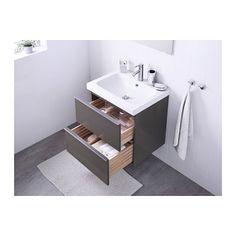 GODMORGON / ODENSVIK Kommod med 2 lådor - högglans grå - IKEA